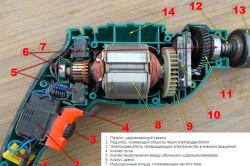 Схема внутреннего устройства дрели
