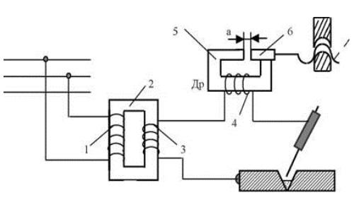 Схема сварочного аппарата переменного тока с отдельным дросселем