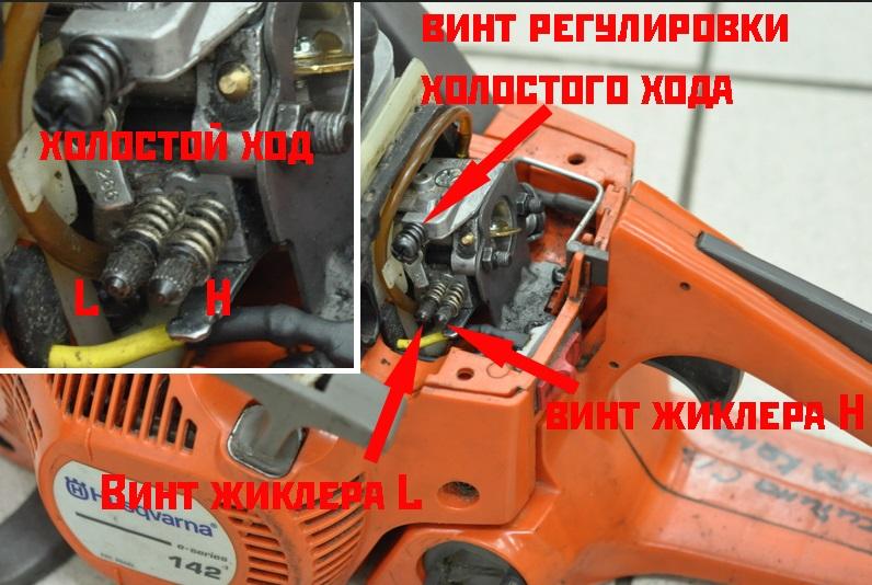 Регулировка карбюратора бензопилы хускварна 236 своими руками