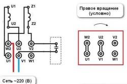 Схема подключения однофазного двигателя в прямом направлении