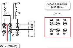 Схема подключения однофазного двигателя в обратном направлении